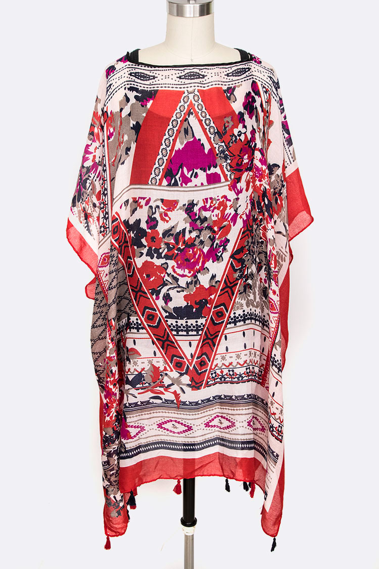 Floral Print Cover Up Poncho