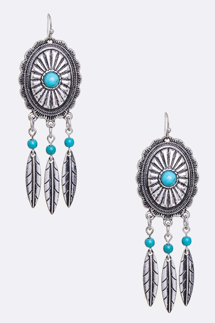 Turquoise Concho Feather Drop Earrings