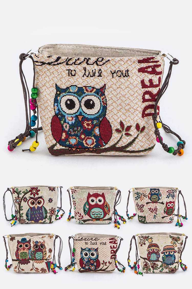 Assorted Comic Owl Print Canvas Crossbody Bags
