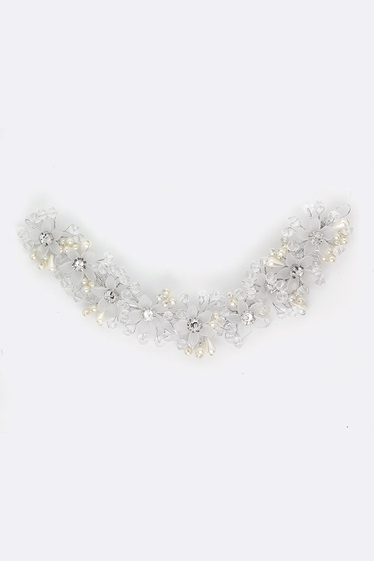 Flower Crystal Pearl Convertible Head Piece