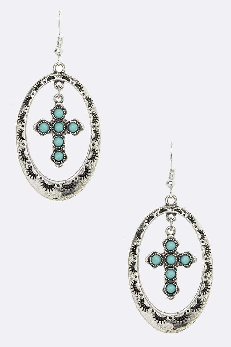 Turquoise Cross Iconic Earrings