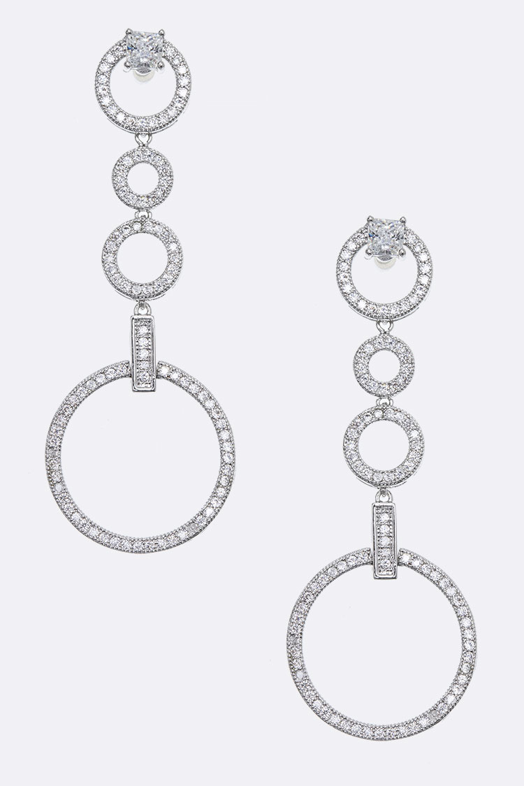 Cubic Zirconia Micro Set Circle Drop Earrings