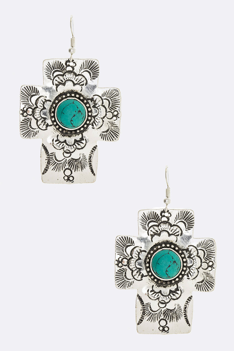 Engraved Turquoise Cross Iconic Earrings