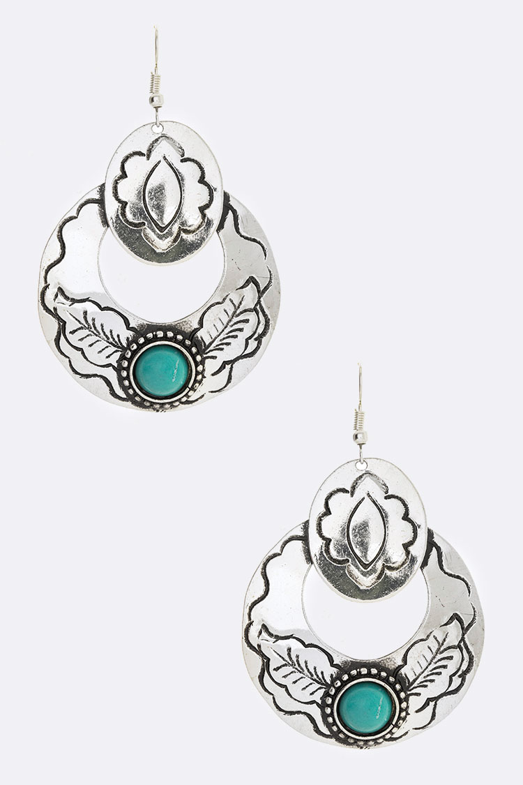 Turquoise Engraved Western Earrings