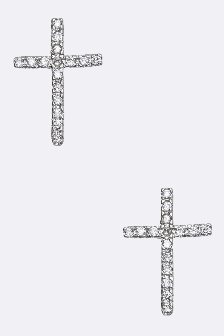 Cubic Zirconia Cross Studs