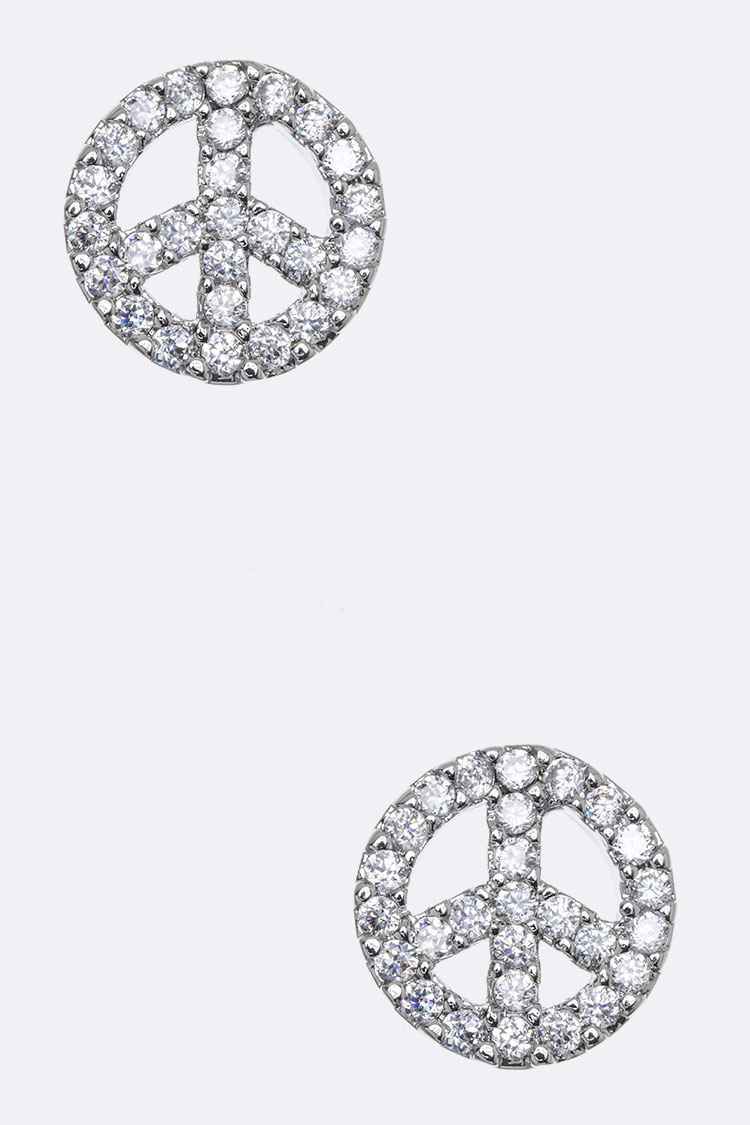 Peace Mark CZ Studs