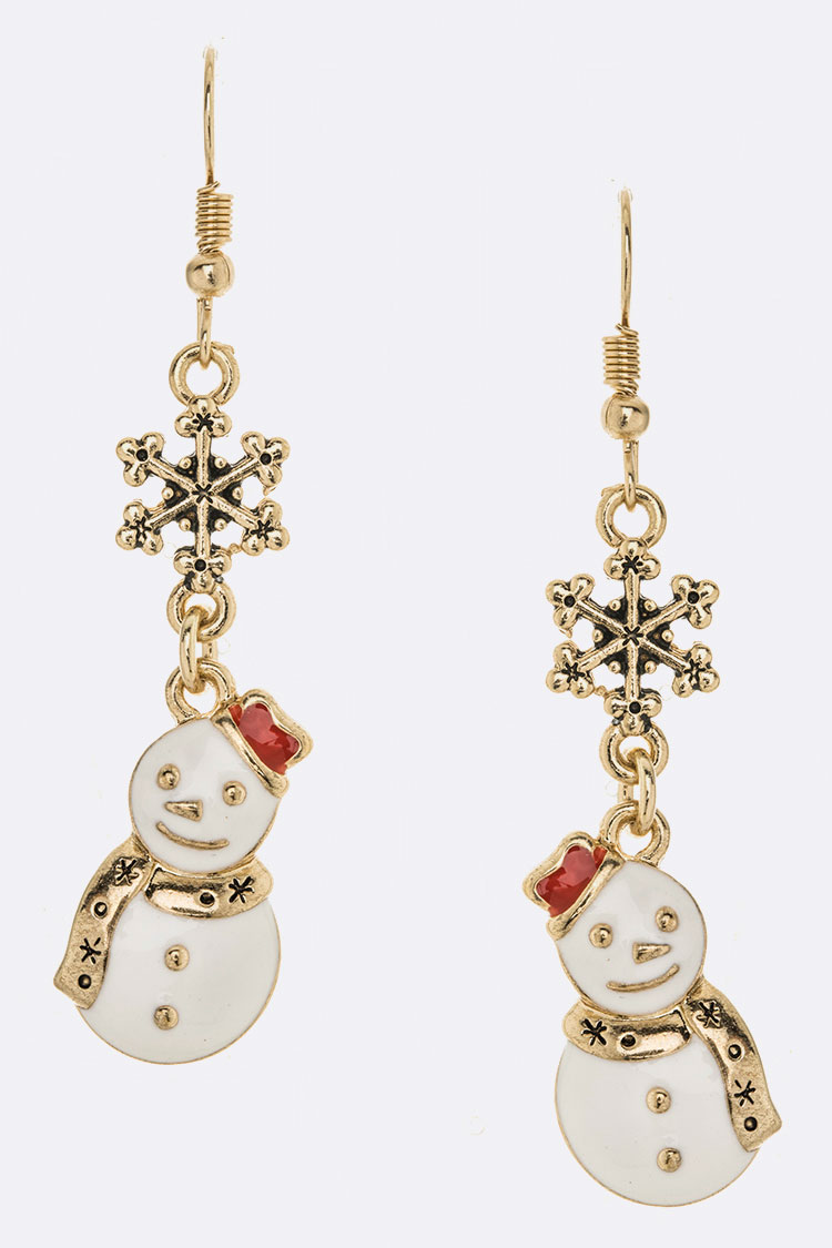 Snowman Enamel Iconic Holiday Earrings