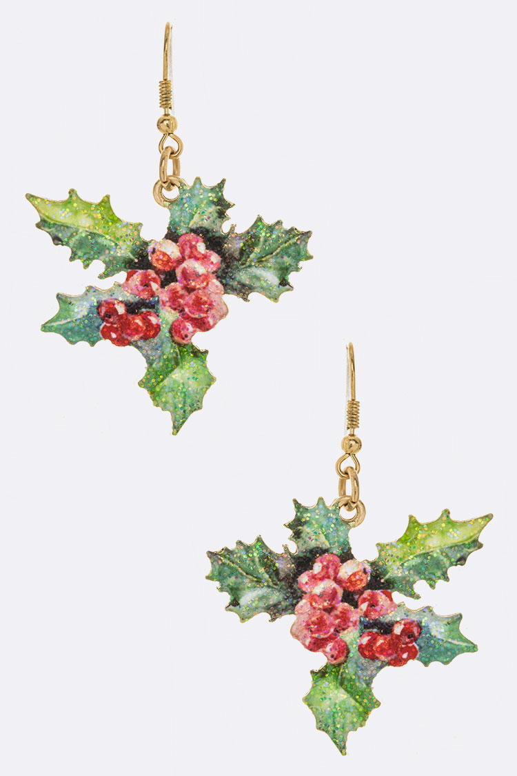 Christmas Flower Printed Iconic Holiday Earrings