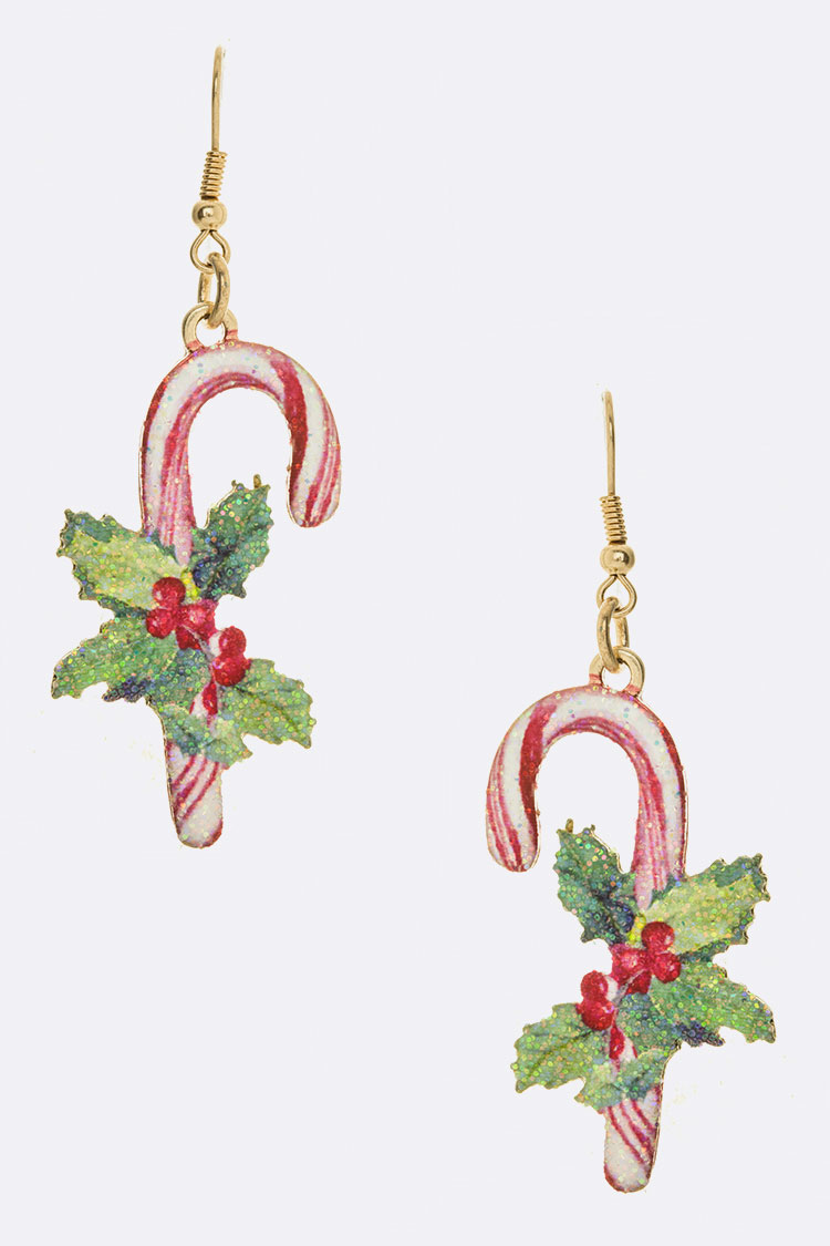 Printed Candy Cane Iconic Metal Earrings