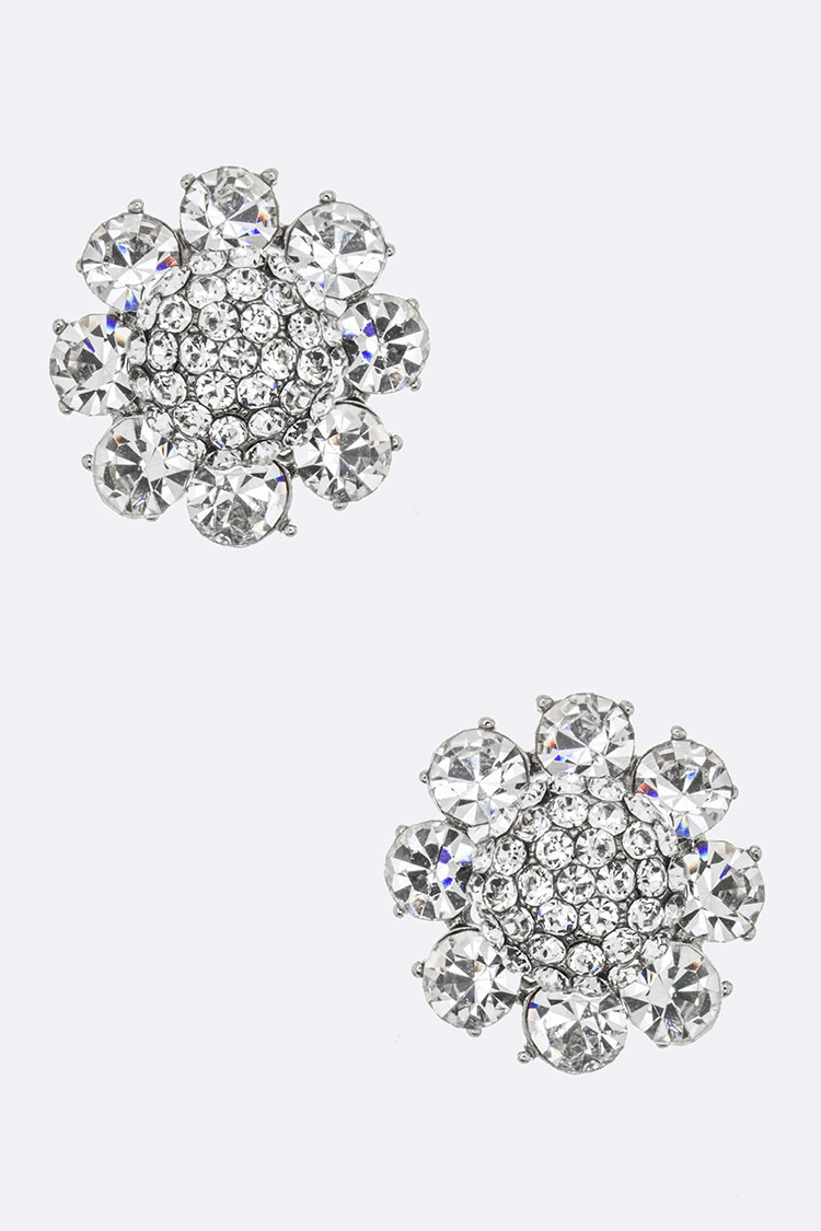 Mix Crystal Flower Studs