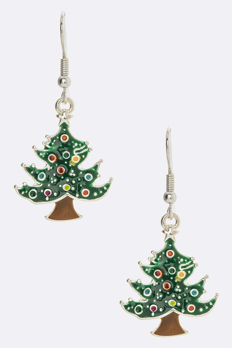 Christmas Tree Enamel Iconic Earrings