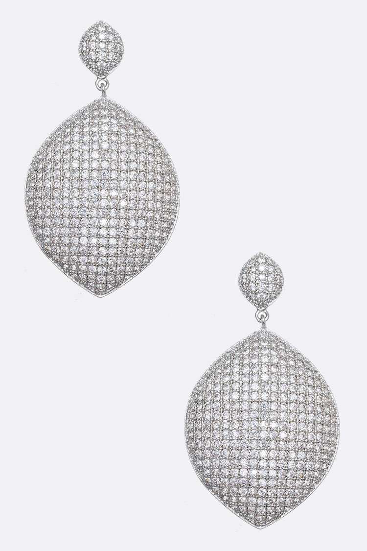 Elliptic CZ Micro Setting Earrings