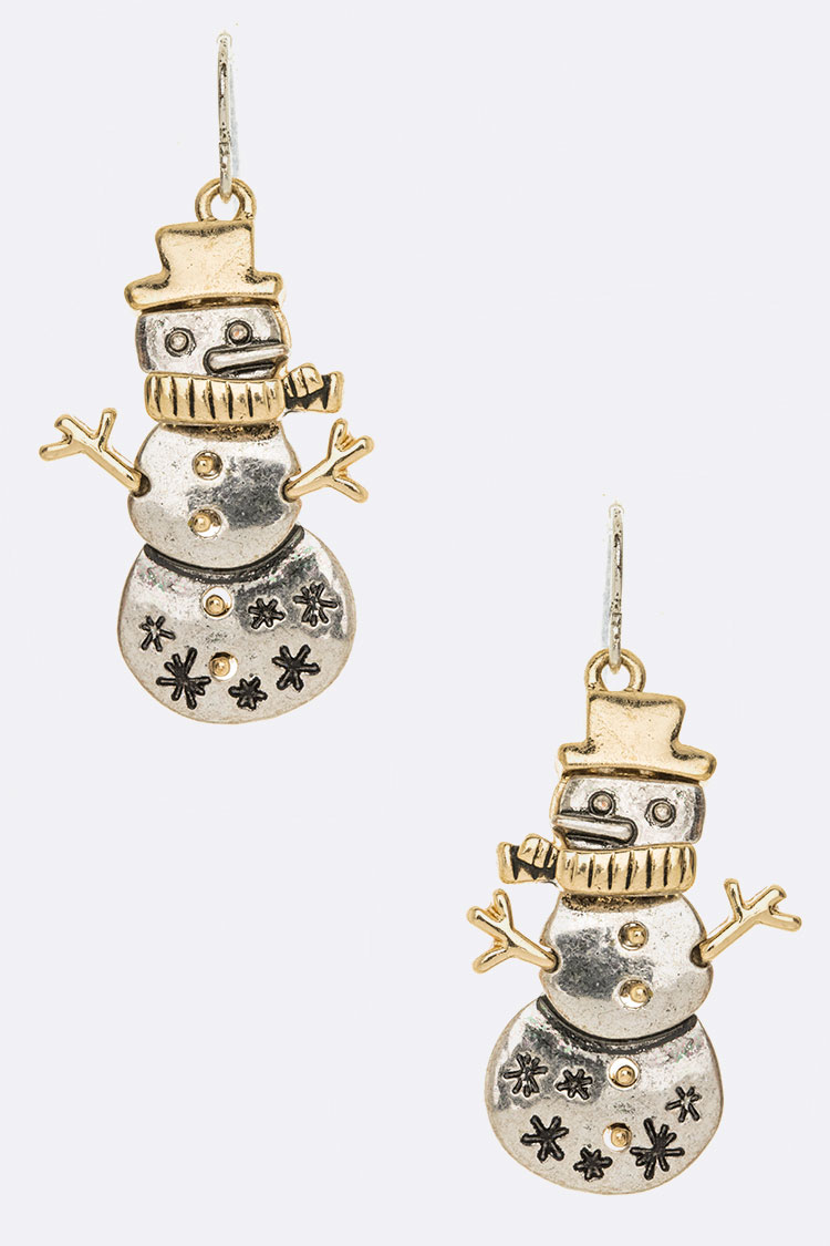 2 Tone Snowman Iconic Earrings