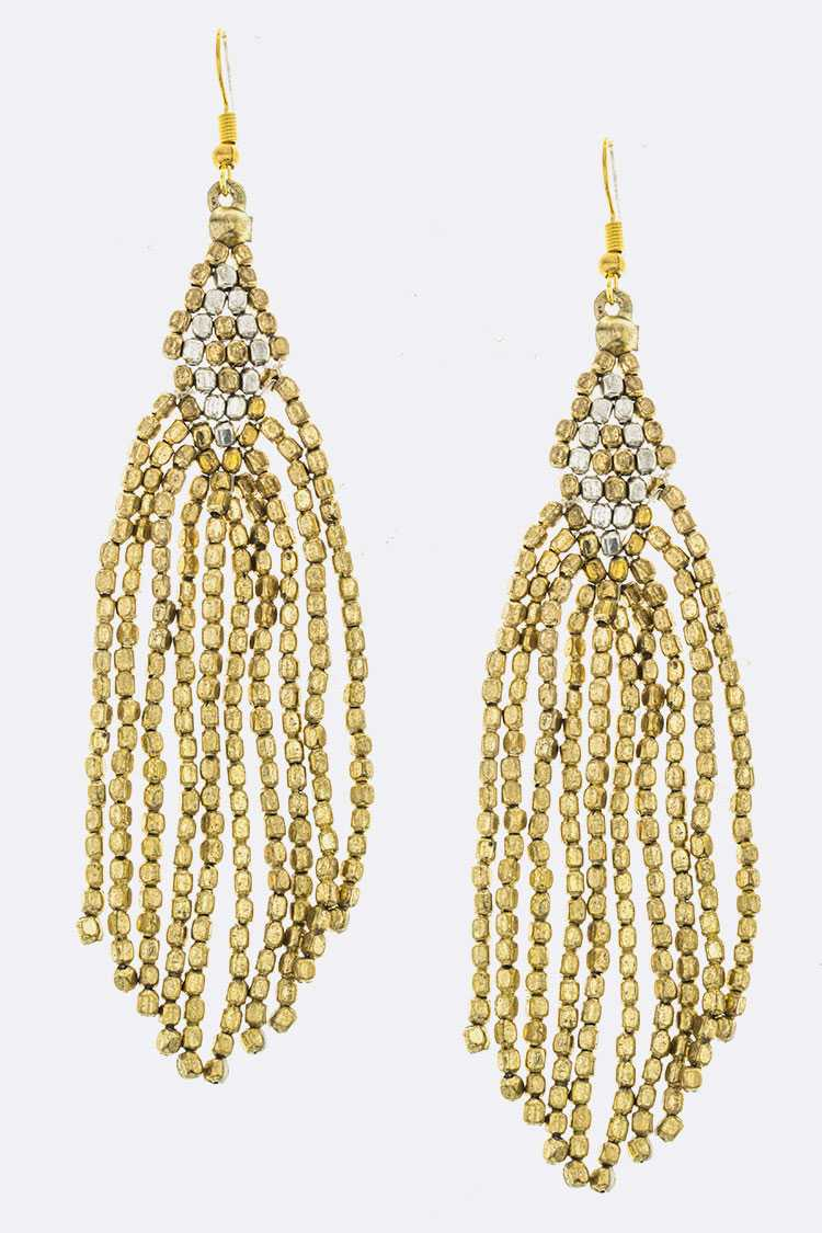 Fringe Metal Bead Earrings