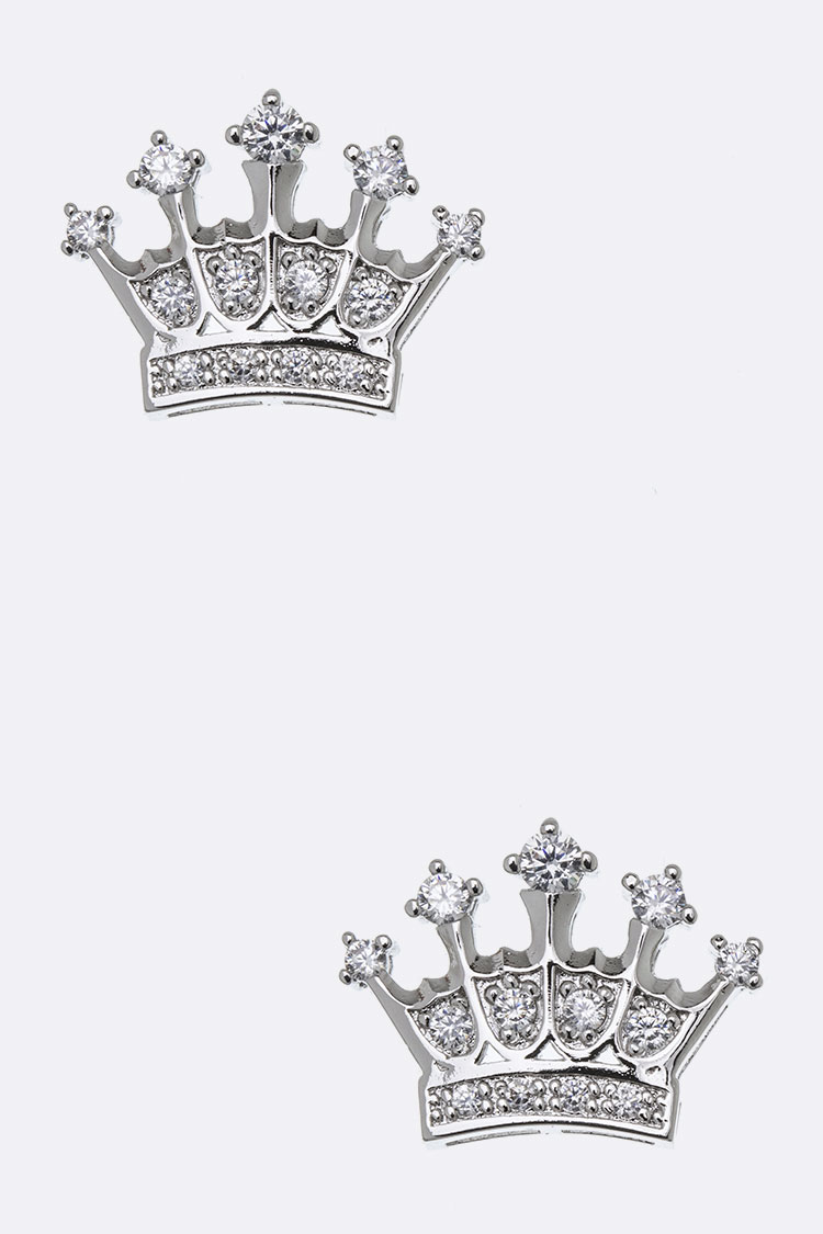 CZ Crown Stud Earrings