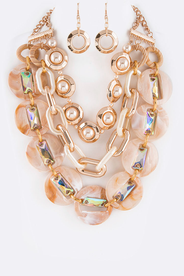 Celluloid Pearl Mix Media Statement Layer Necklace Set