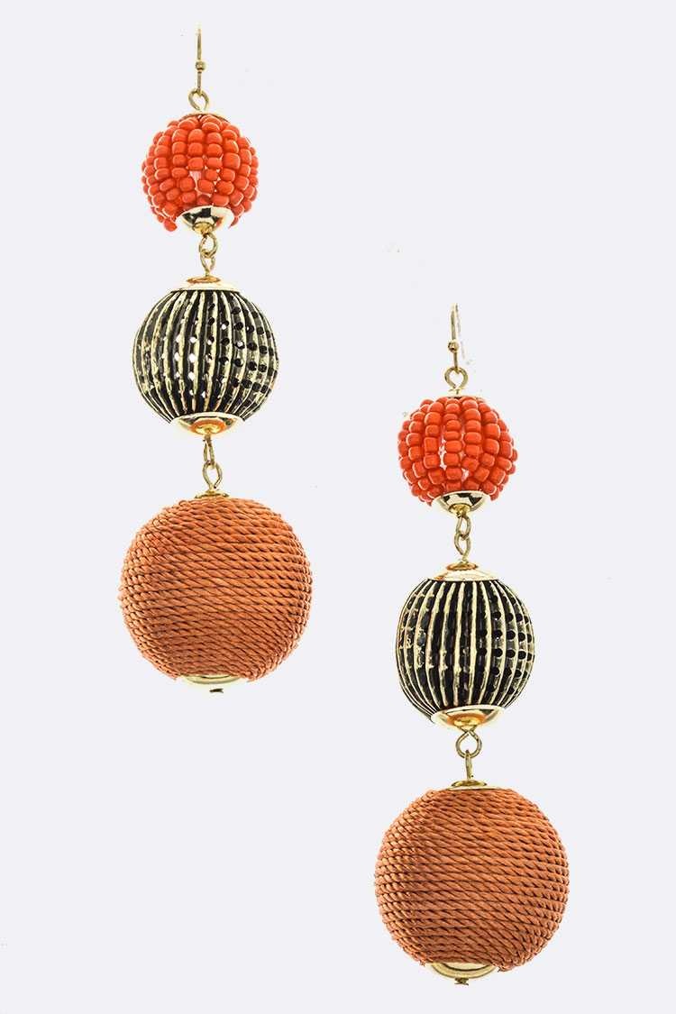 Mix Beads Ball Drop Earrings