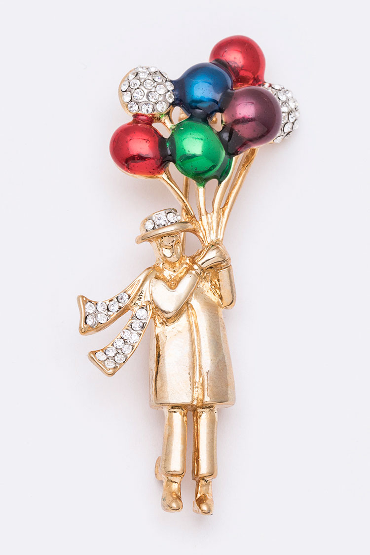 Lady With Balloons Iconic Brooch