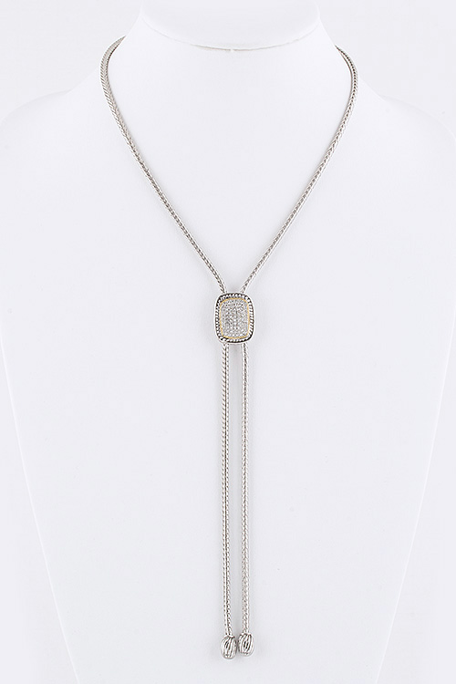 Crystal Pave Bolo Tie Necklace