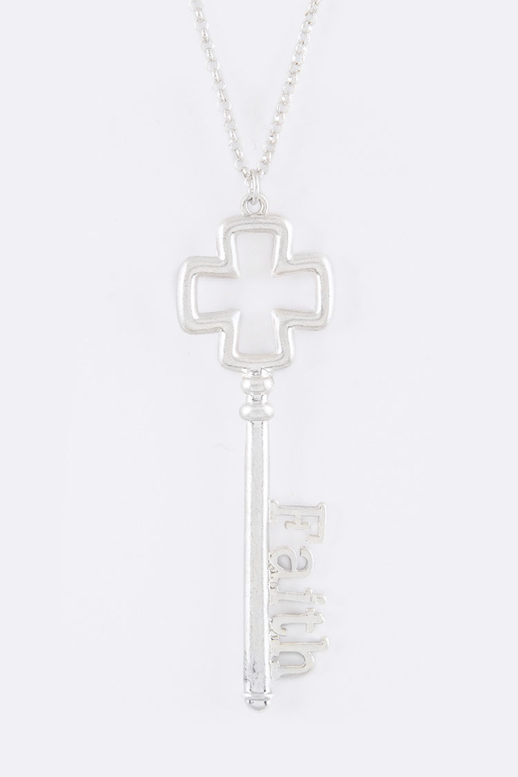 Faith Key Pendant Necklace