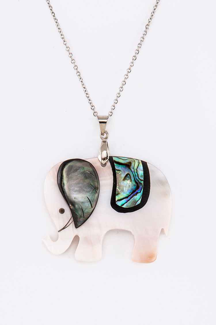 MOP Elephant Pendant Necklace
