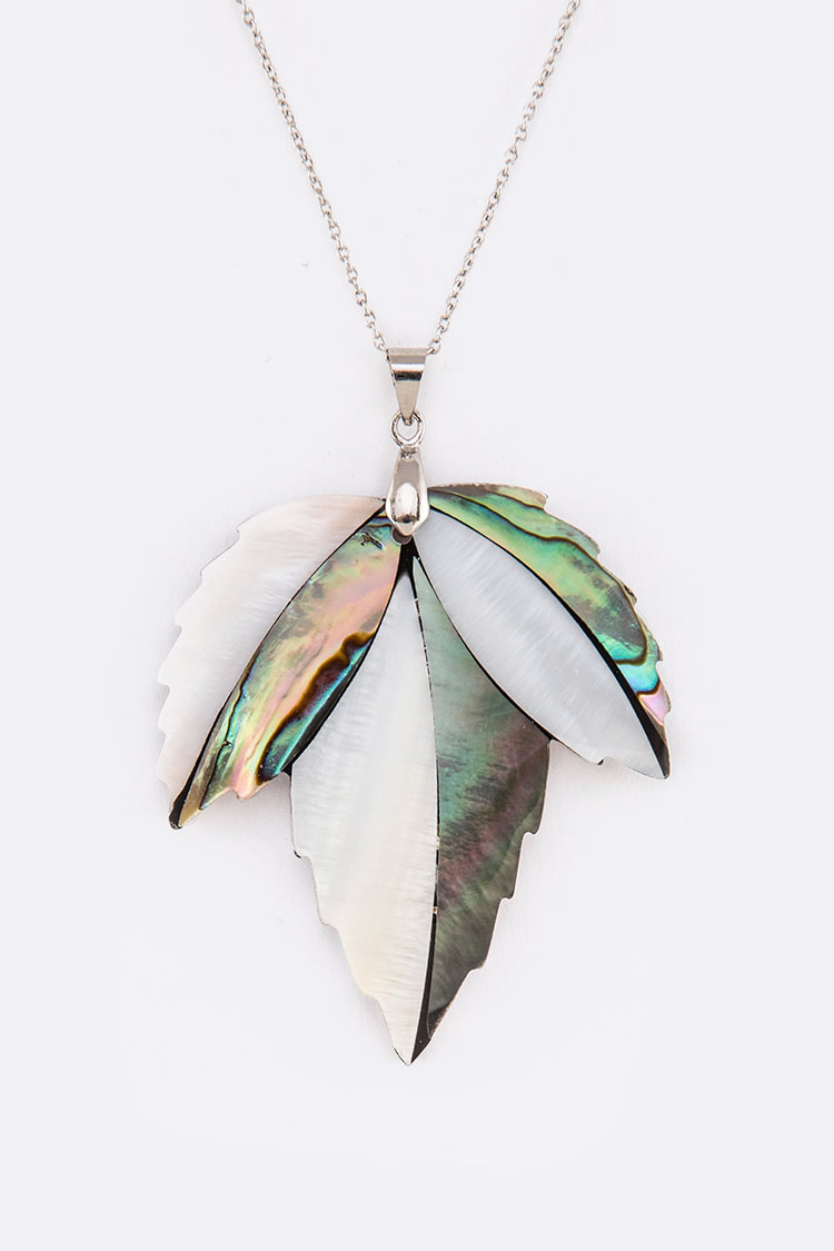 MOP Leaf Pendant Necklace