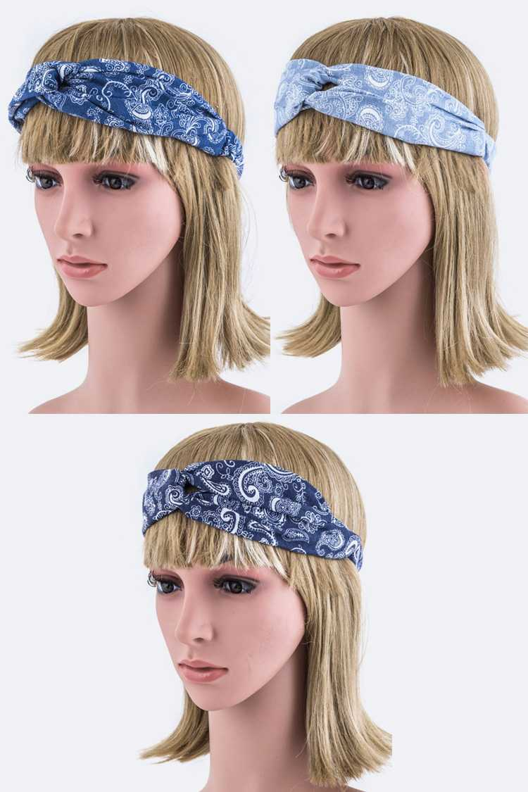 Paisley Print Twist Knot Stretch Headband
