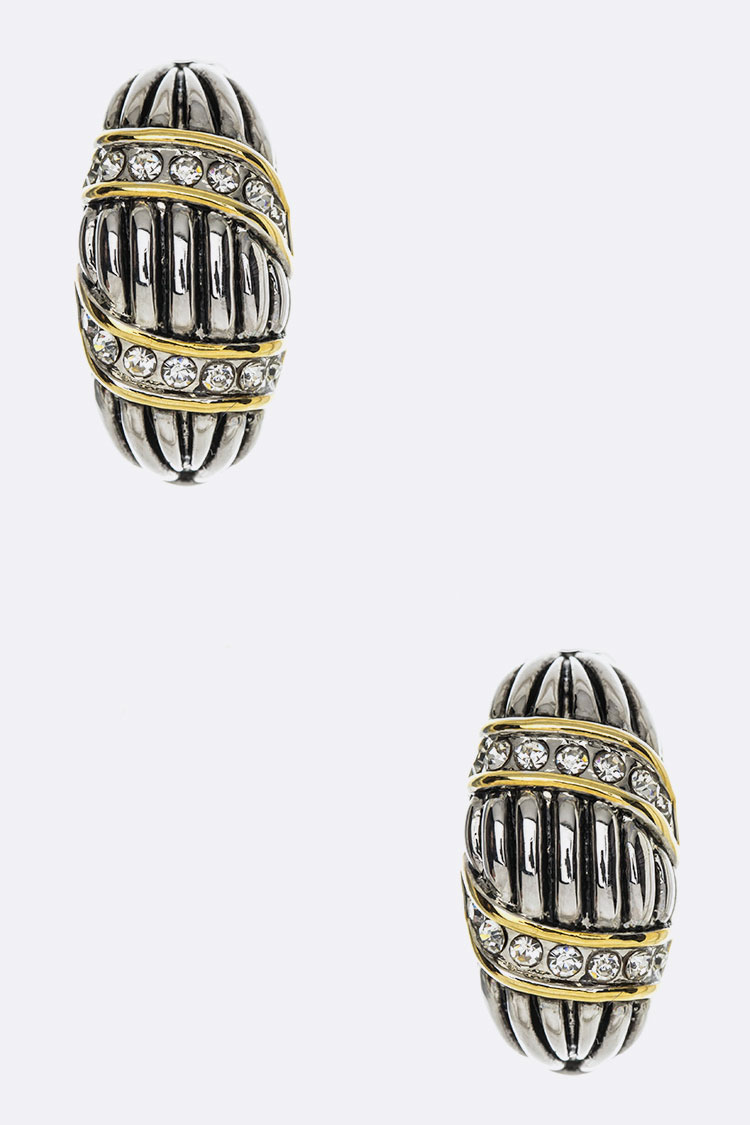 2 Tone Designed French Clip Earrings
