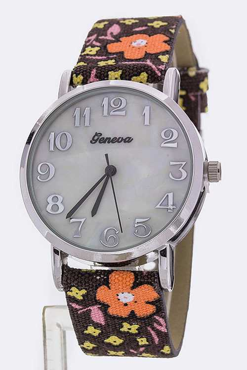 Floral Jacquard Strap Fashion Watch