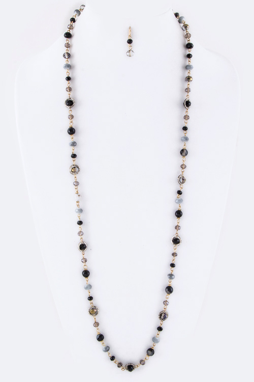 Mix Beads Long Necklace Set