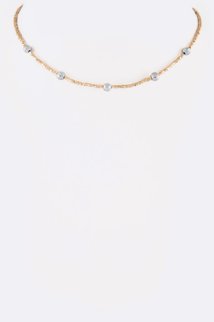 2 Tone Beads Station Dainty Choker Necklace
