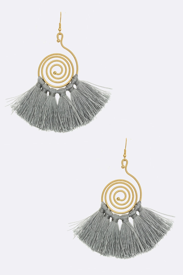 Metal Vortex & Tassel Earrings