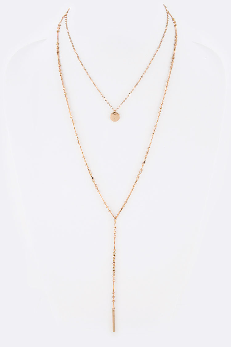 Petite Nugget Beaded Layer Long Necklace