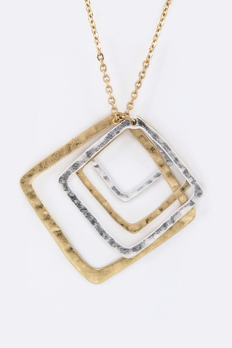Mix Square Cutout Pendant Necklace