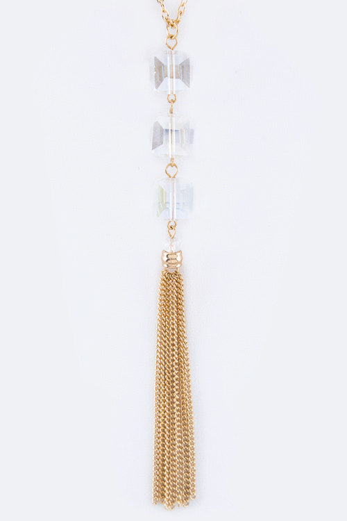 Crystal Cubes & Chain Tassel Necklace Set
