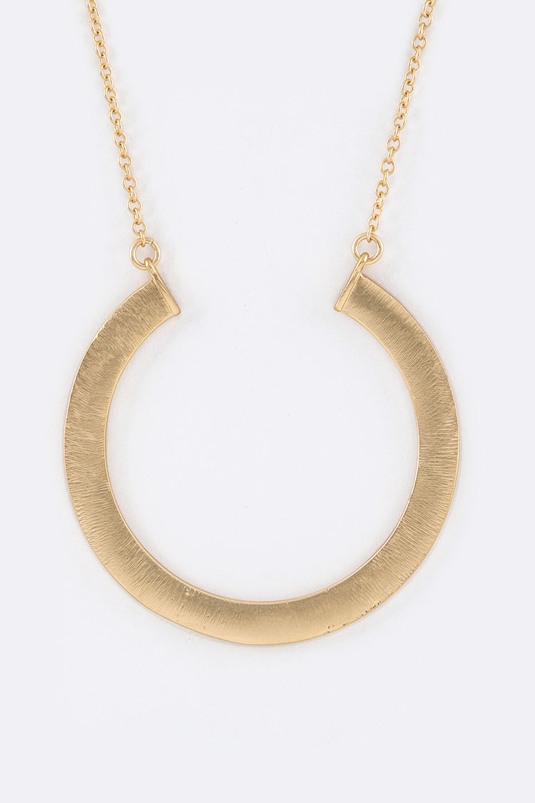 Brushed Metal Open Circle Pendant Necklace