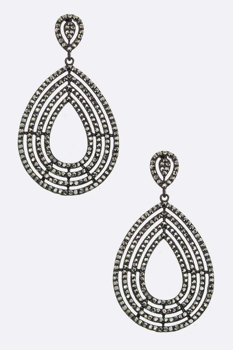 Crystal Layer Teardrop Earrings