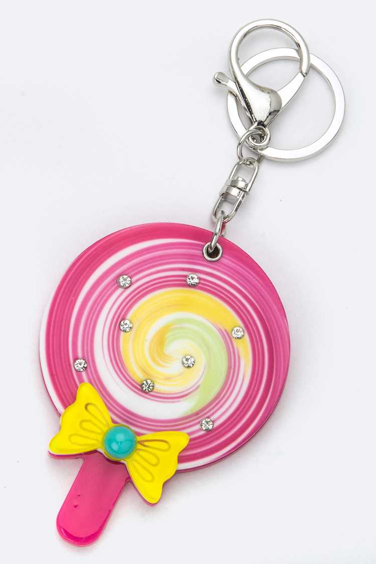 Lollipop Compact Mirror Key Charm