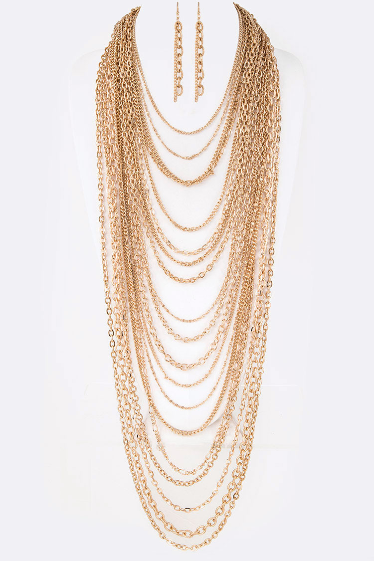 Zillion Chain Statement Layer Necklace Set