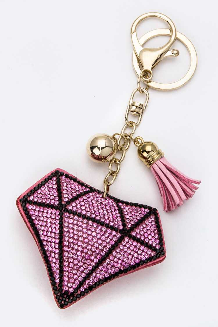 Soft Crystal Diamond Key Charm