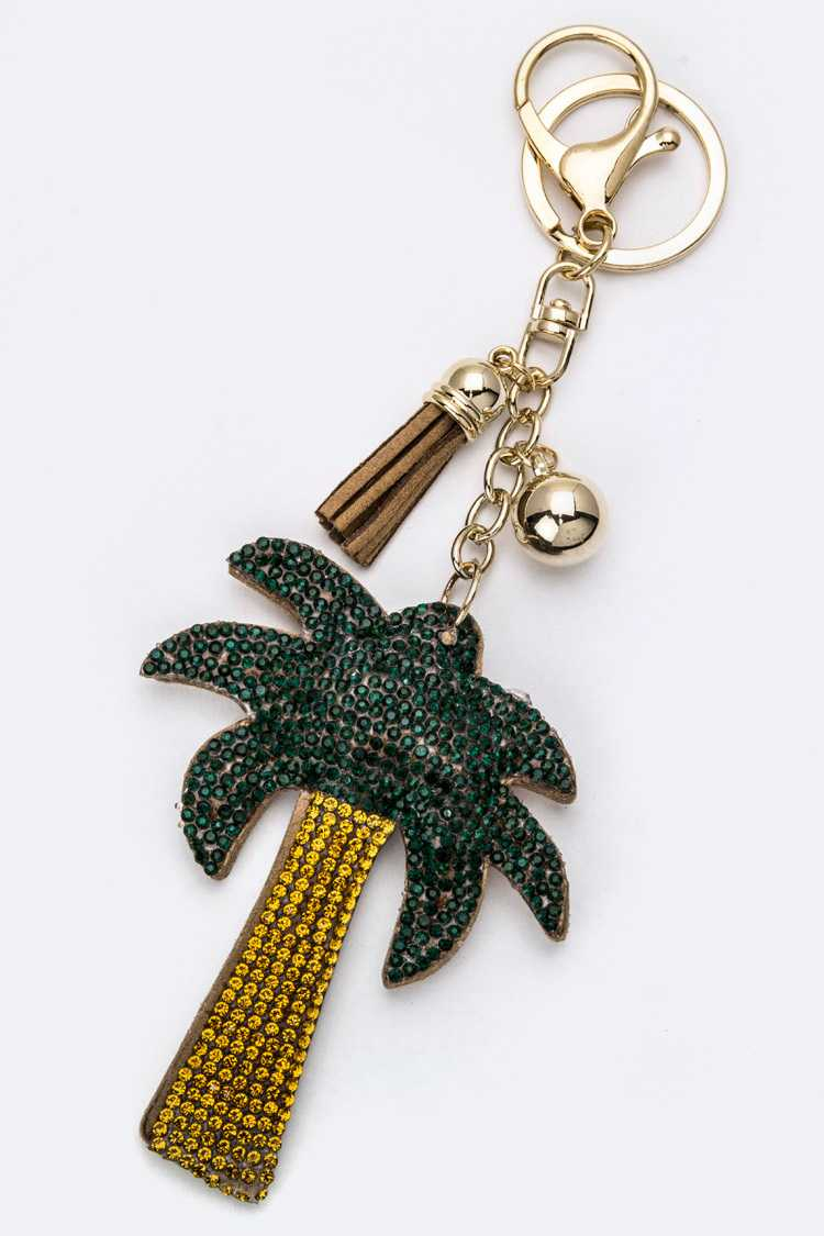 Soft Crystal Palm Tree Key Charm