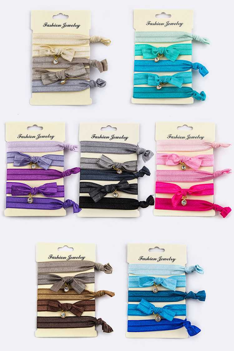 Assorted Bow & Charm Hair Ties