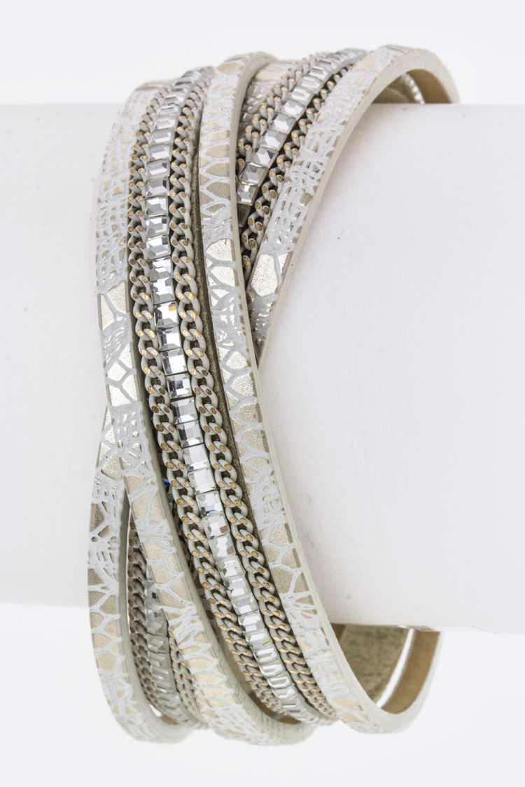 Crystal & Chain Layer Overlapped Cuff