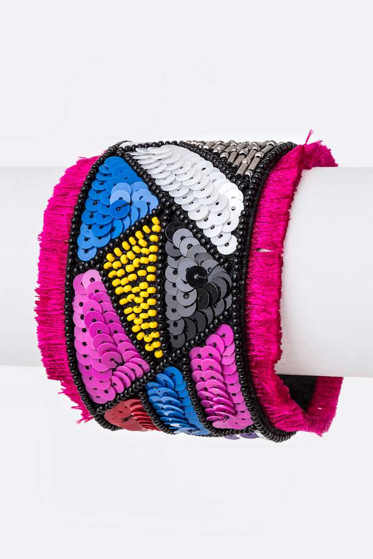 Mix Pattern Sequins Iconic Adjustable Cuff