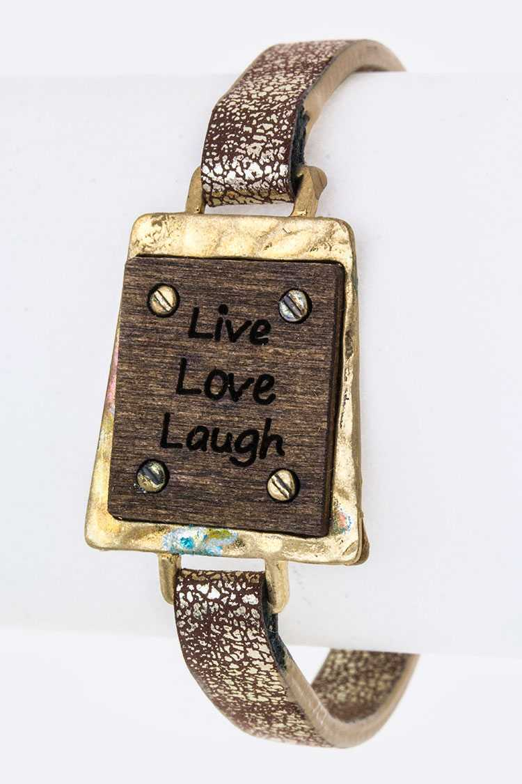 Live Love Laugh Wood Carved Tag Cuff
