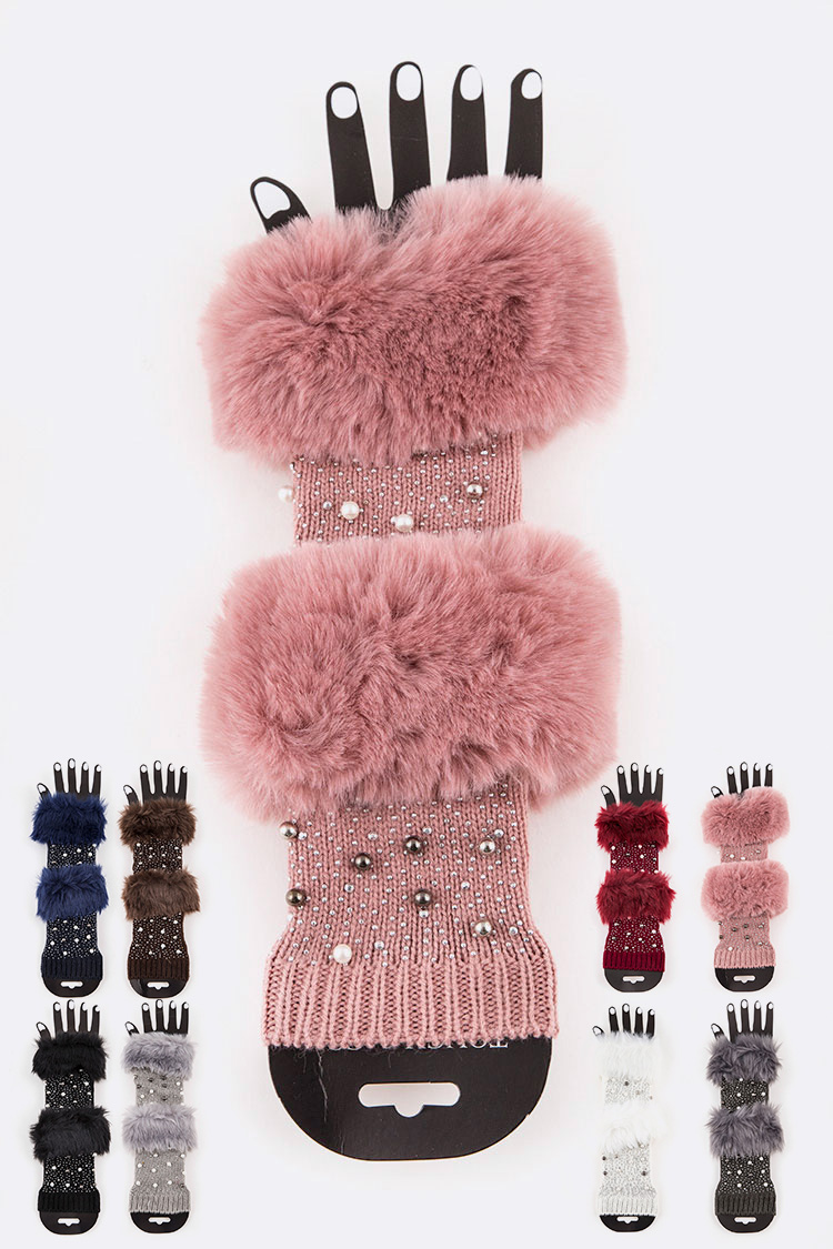 Faux Fur Trim Beaded Fingereless Gloves