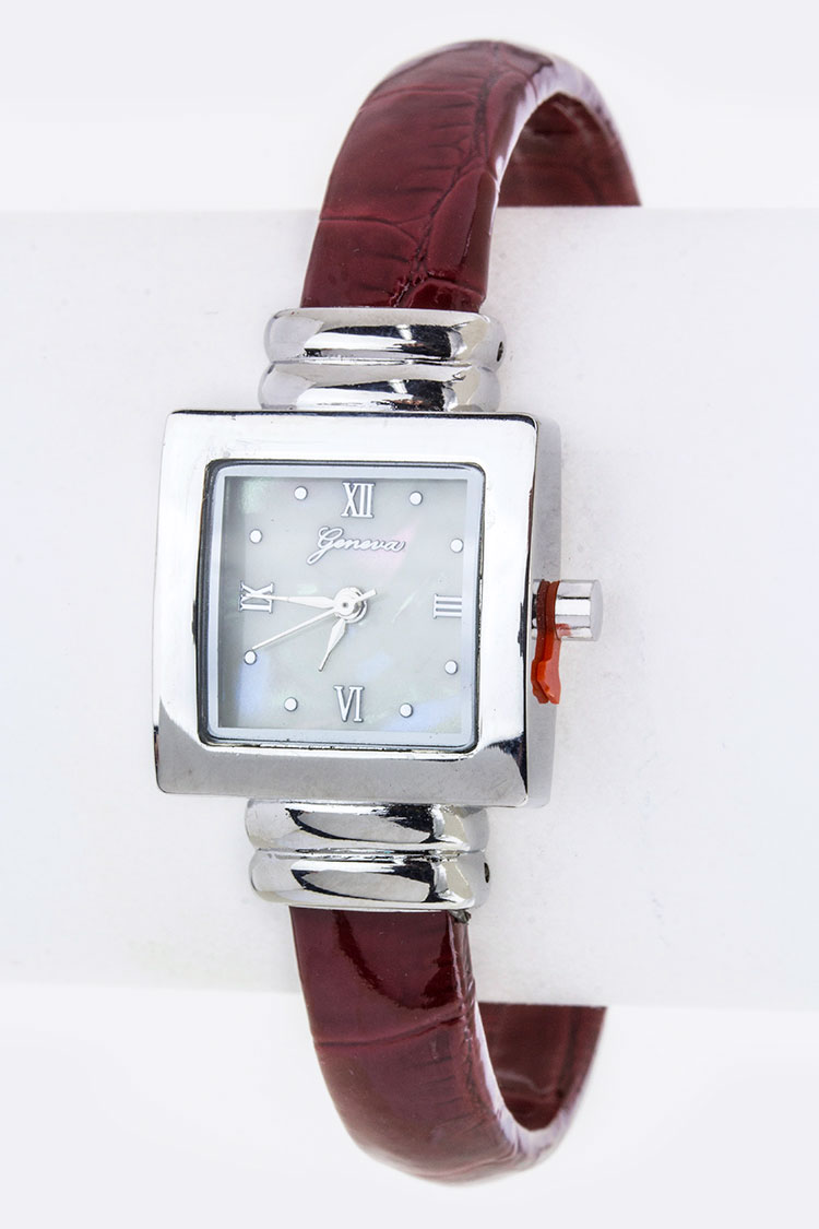 Croc Embossed Bangle Watch