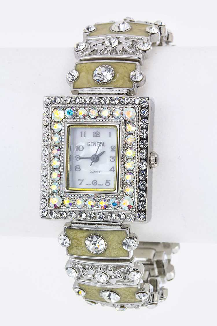 Pave Crystals & Enamel Bracelet Watch