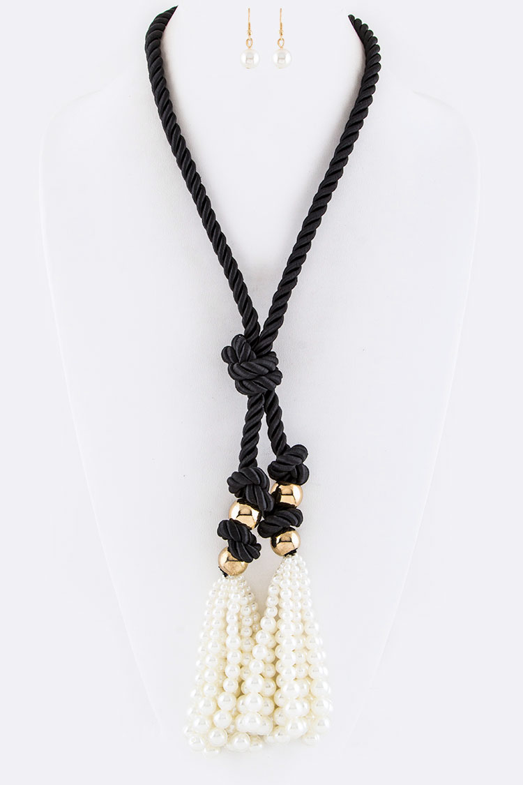Knotted Pearl Tassels Rope Necklace Set