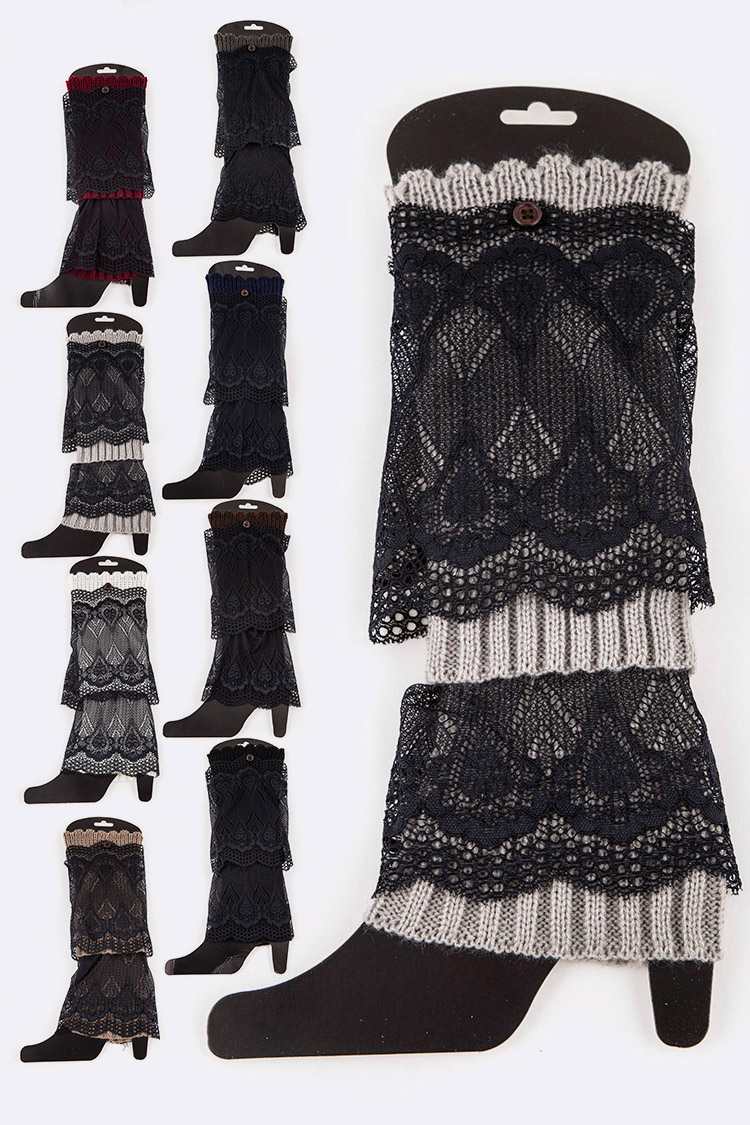 Lace Accent Layer Leg Warmer Set